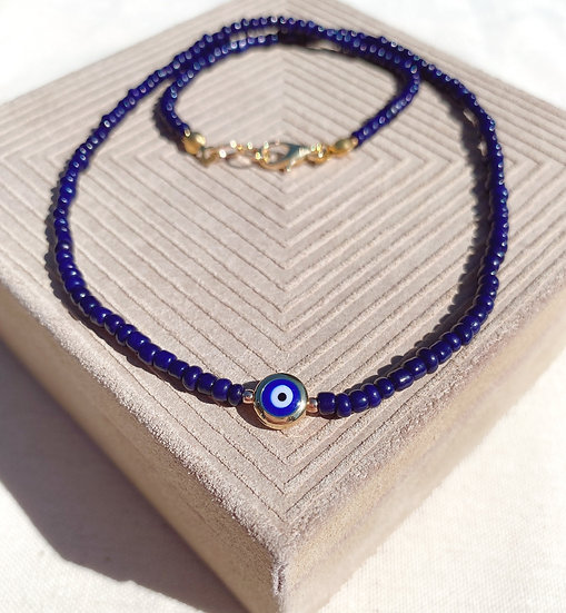 Navy Blue Lucky Evil Eye Necklace With Gold Clasps