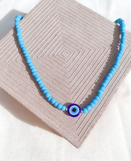 Light Blue Lucky Evil Eye Necklace, Glass Evil Eye Bead