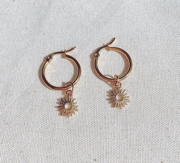 Sun Charm Gold Hoop Earrings