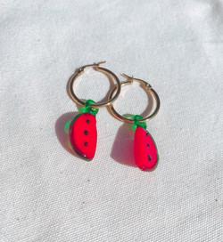Watermelon Murano Glass Gold Hoop Earrings