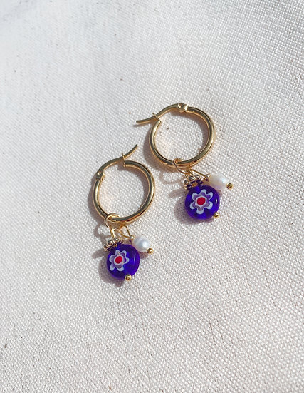 Dark Blue Millefiori Glass Hoop Earrings, Gold Plated Stainless Steel