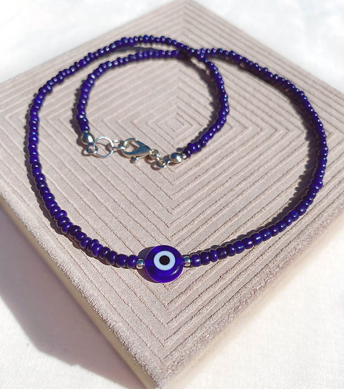 Navy Blue Lucky Evil Eye Necklace
