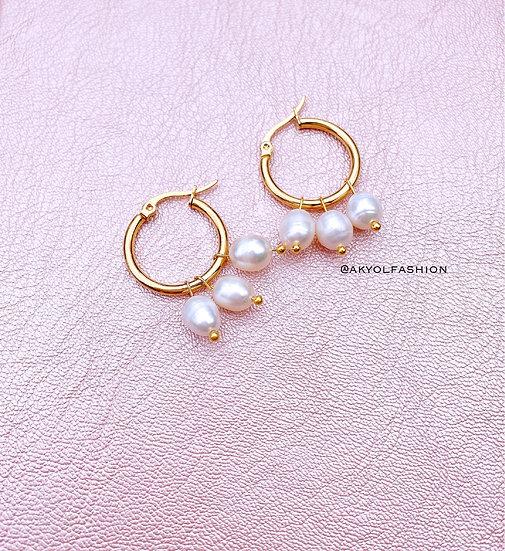 Pearls Gold Hoop Earrings