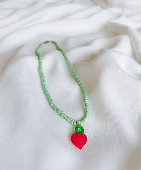 Light Green Beaded Necklace With Red Murano Glass Heart