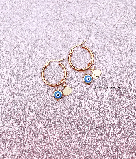 Blue Lucky Evil Eye Gold Hoop Earrings, Stainless Steel