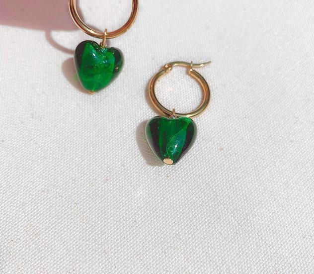 Emerald Green Lampwork Glass Heart Gold Hoop Earrings