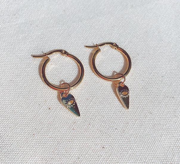 Heart Eye Charm Gold Hoop Earrings