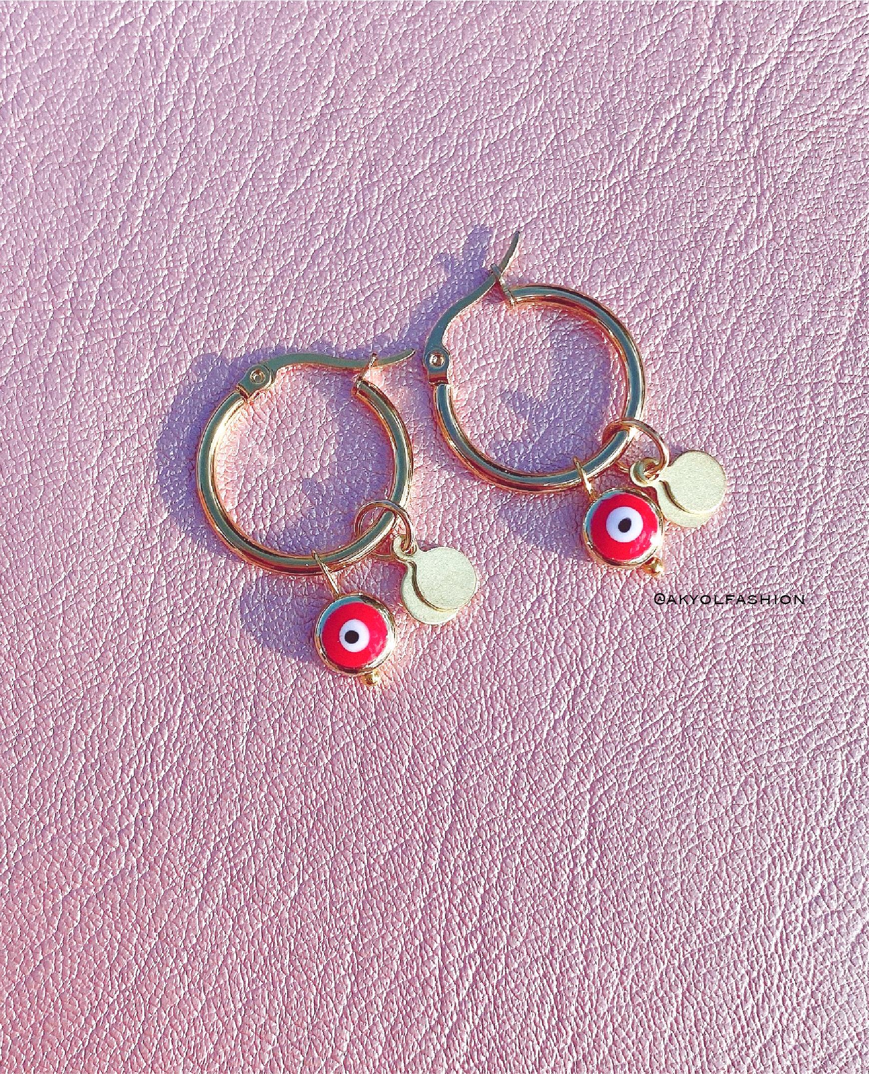 Gold Evil Eye Earrings