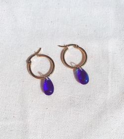 Blue Glass Tear Drop Gold Hoop Earrings