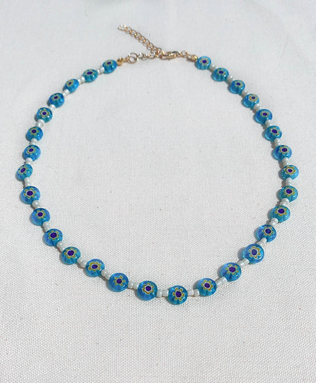 Light Blue Murano Millefiori Necklace With Gold Tone Clasp