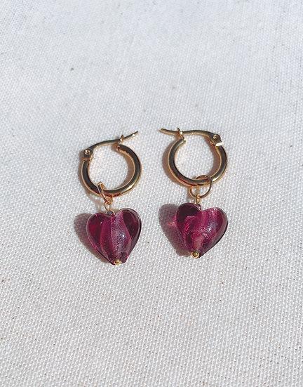 Purple Lampwork Glass Heart Gold Hoop Earrings