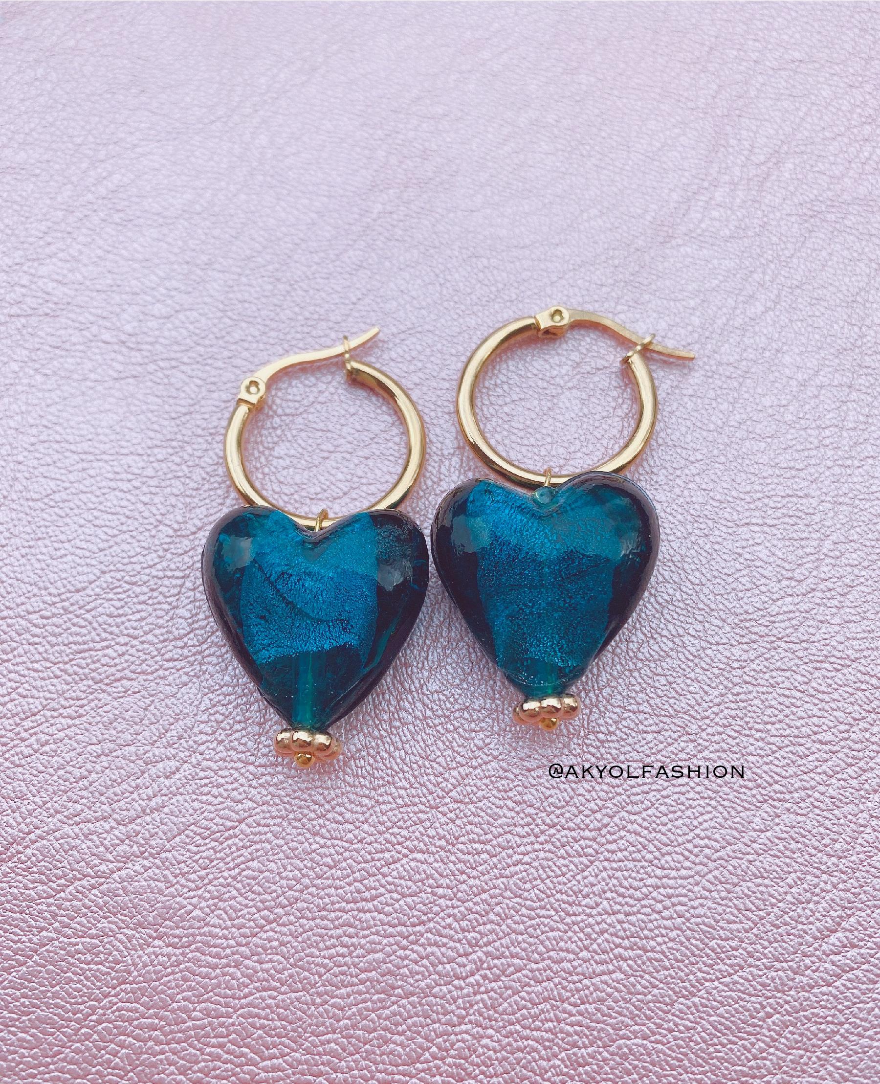 Gold Teal Blue Heart Hoop Earrings