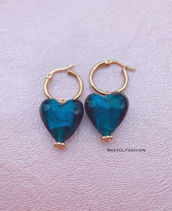 Gold Teal Blue Heart Hoop Earrings