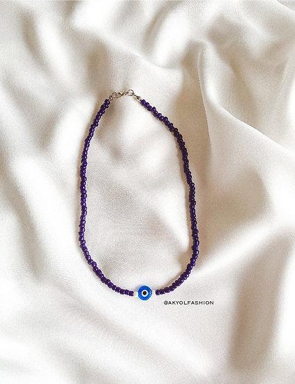Dark Blue Lucky Evil Eye Necklace With Light Blue Evil Eye - 4mm