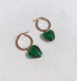 gold green earrings