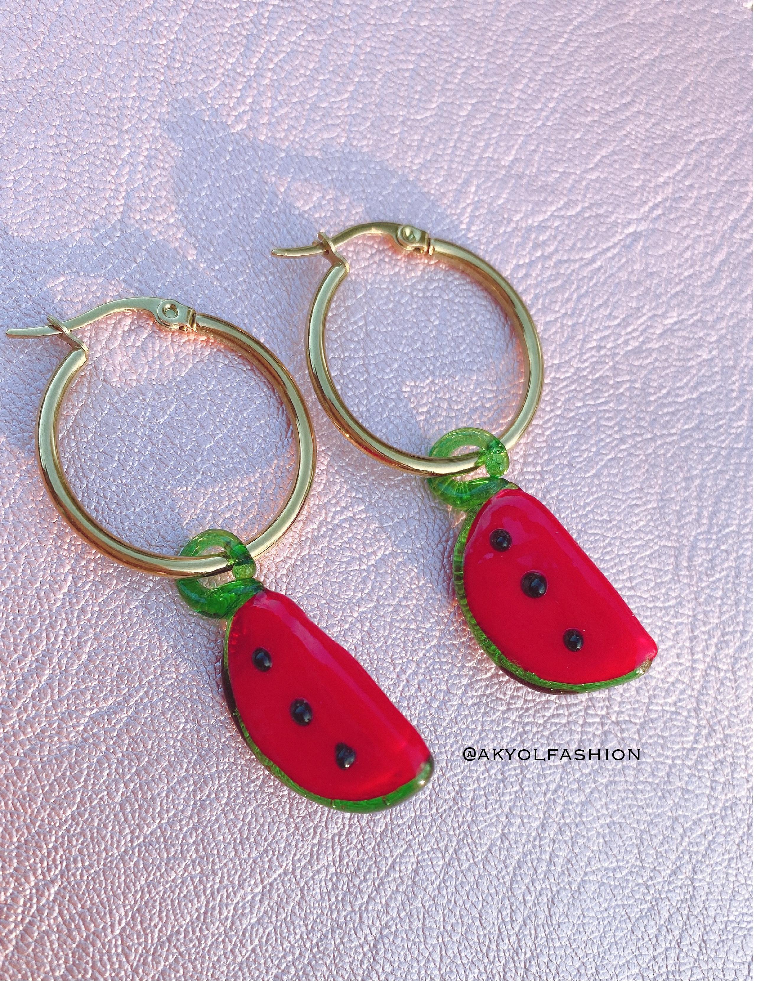 Gold Watermelon Earrings