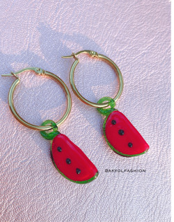 Gold Watermelon Earrings