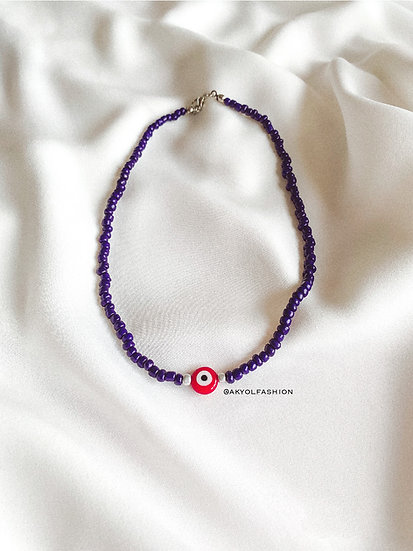 Dark Blue Lucky Evil Eye Necklace With Red Glass Evil Eye