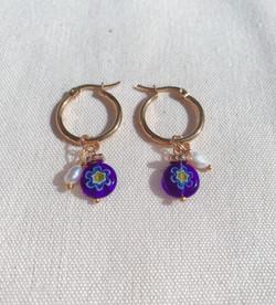 Dark Blue Millefiori Glass Hoop Earrings, Gold Plated Stainless Steel