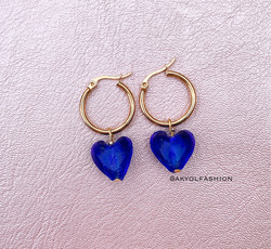 Gold Cobalt Blue Heart Hoop Earrings