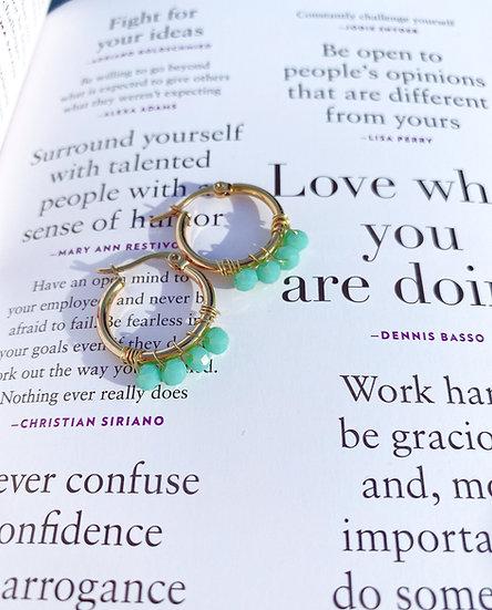 Pastel Green Beaded Gold Hoop Earrings