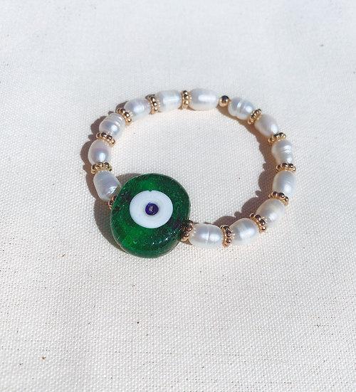 Green Evil Eye Bracelet With Fresh Water Pearls