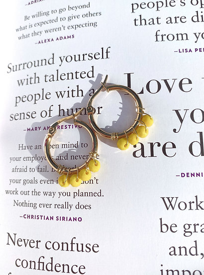 Yellow Beaded Gold Hoop Earrings