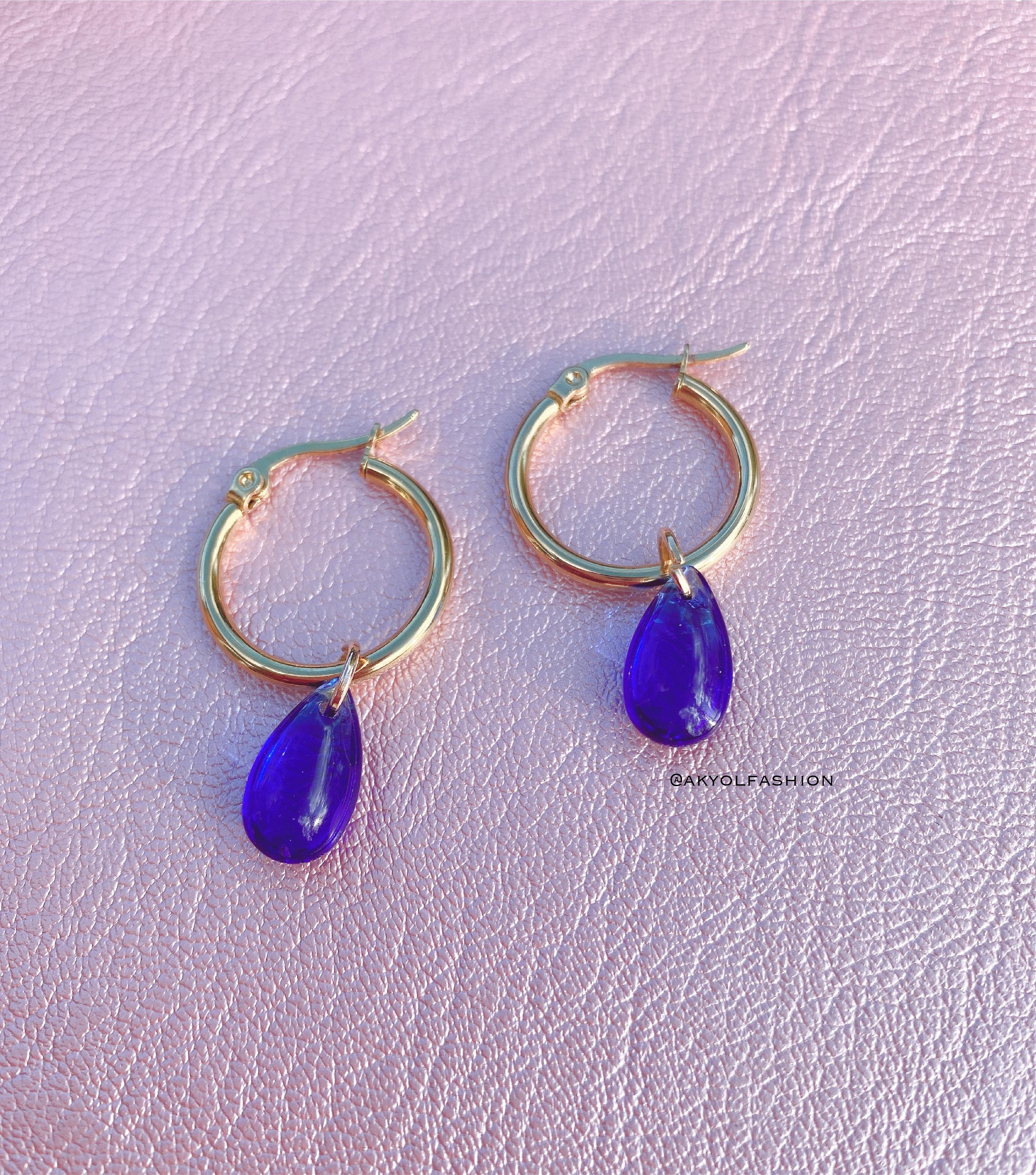 Gold Hoop Earrings With Blue Tear Drops
