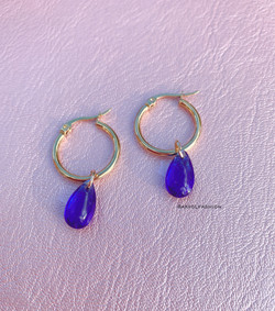 Gold Hoop Earrings With Blue Tear Drops