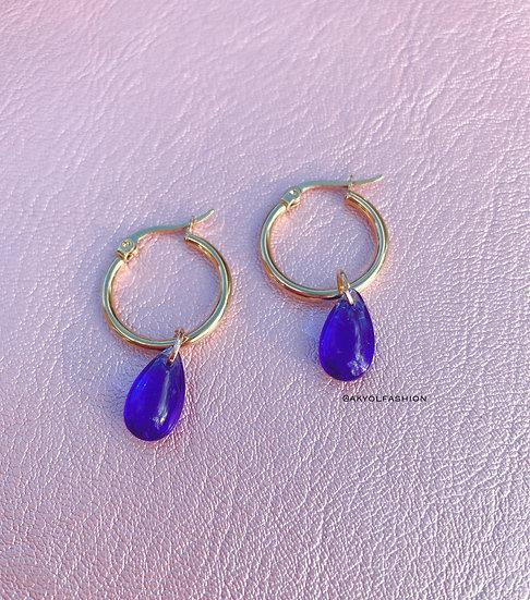 Blue Glass Teardrop Gold Hoop Earrings
