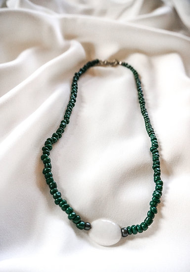Dark Green Necklace With Natural Stone