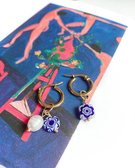 Blue Millefiori Murano Small Hoop Earrings, Matisse Inspired