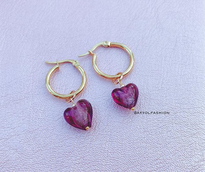 Purple Murano Glass Heart Gold Hoop Earrings