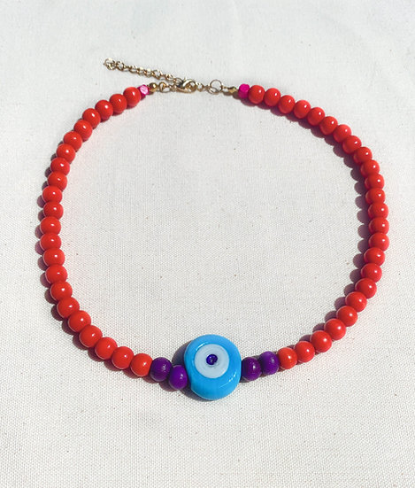 Bohemian Blood Orange and Blue Evil Eye Necklace