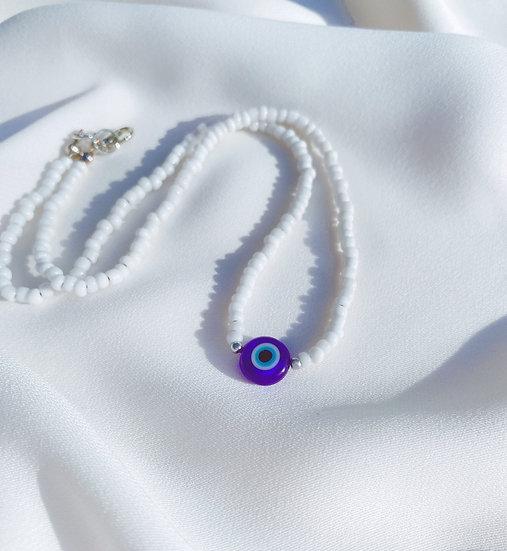 White Lucky Evil Eye Necklace With Dark Blue Evil Eye Bead