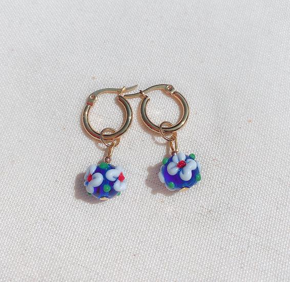 Sky Blue Lampwork Flower Hoop Earrings