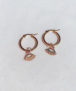 Eye Charm Gold Hoop Earrings