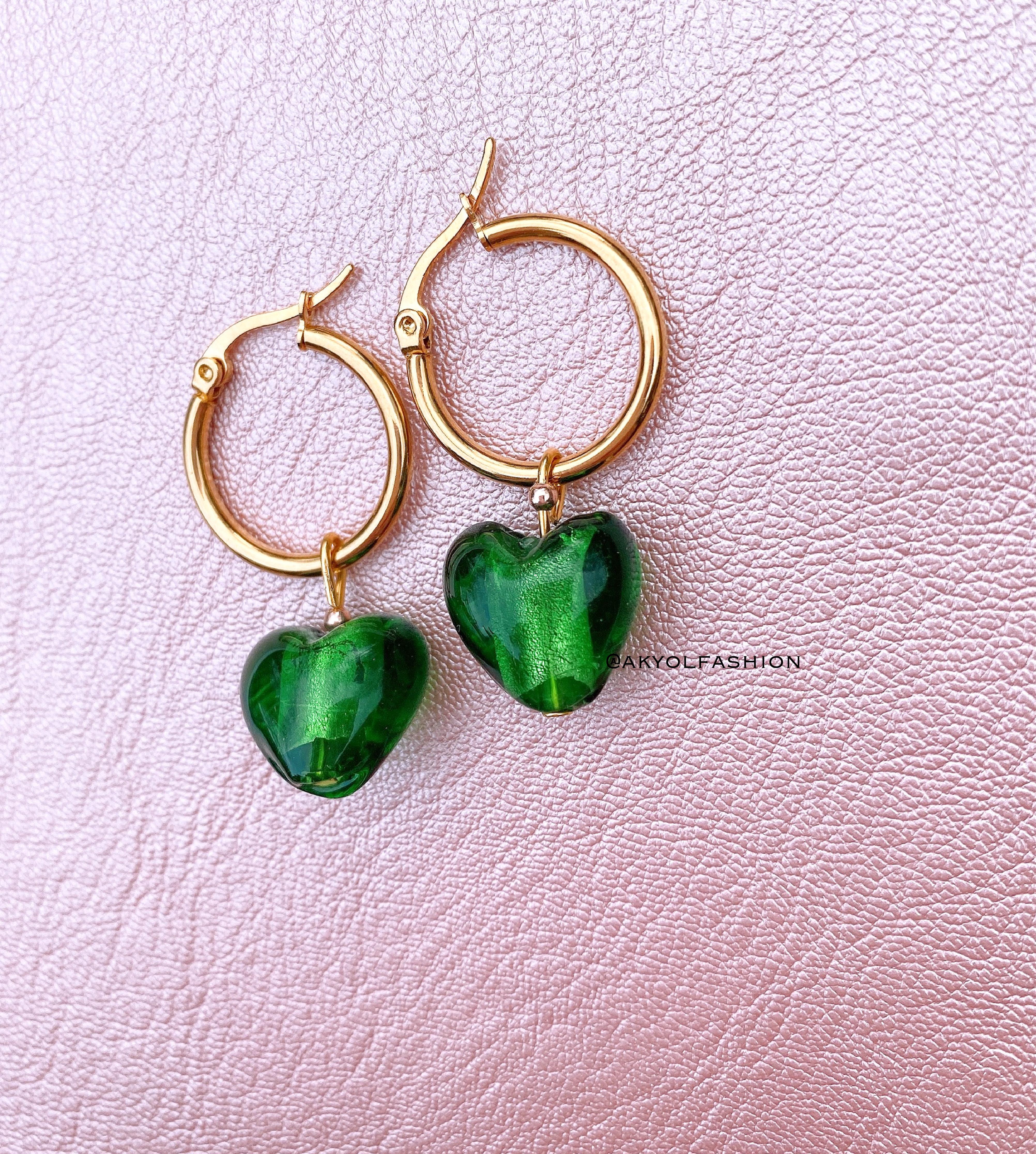 Gold Dark Green Heart Hoop Earrings