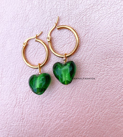 Gold Dark Green Heart Hoop Earrings