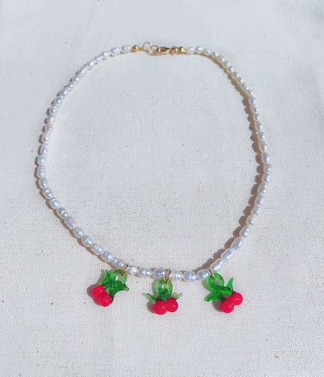 3 Sweet Cherries Pearl Necklace With Gold Tone Clasp