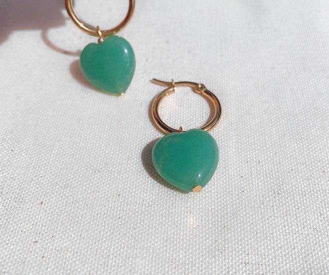 Green Aventurine Heart Hoop Earrings