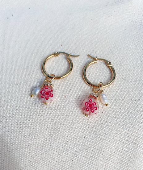 Red Millefiori Glass Hoop Earrings