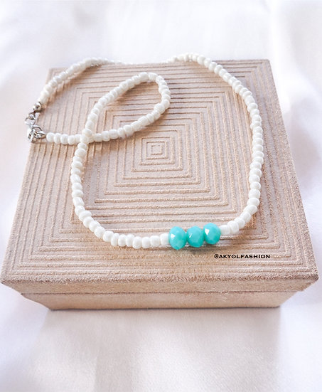 White Beaded Necklace With Blue Faceted Beads