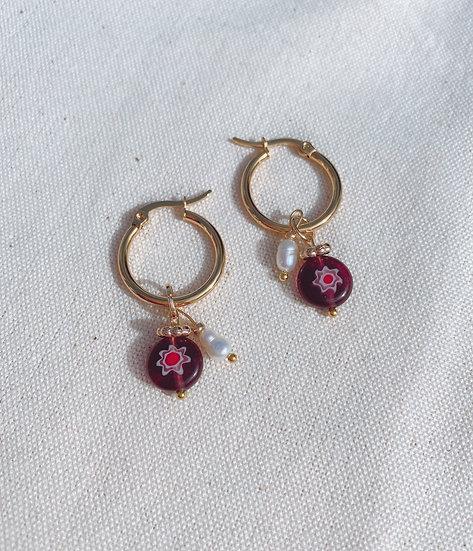 Purple Millefiori Glass Hoop Earrings, Gold Plated Stainless Steel