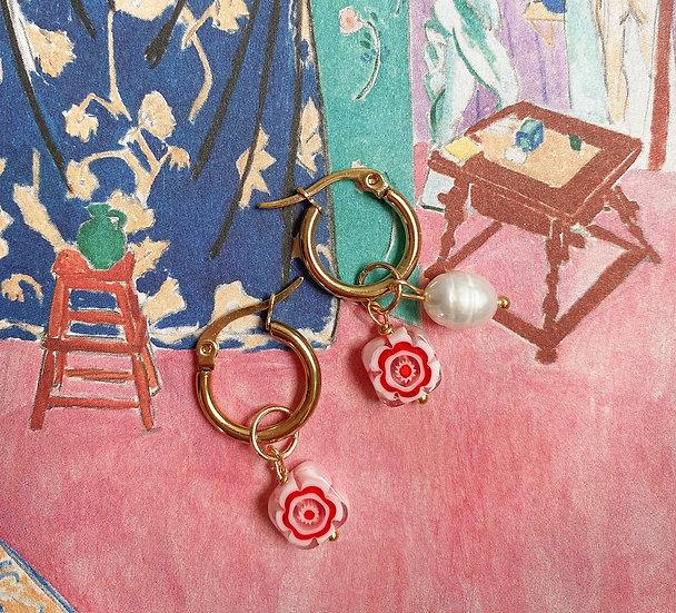 Red Square Millefiori Murano Small Hoop Earrings, Matisse Inspired