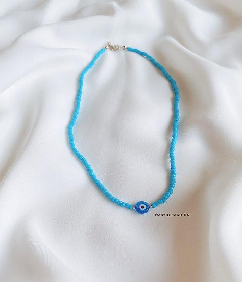 Light Blue Lucky Evil Eye Necklace With Light Blue Glass Evil Eye