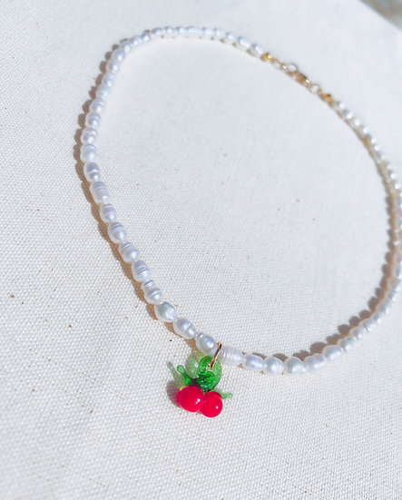 Sweet Cherry Pearl Necklace With Gold Tone Clasp