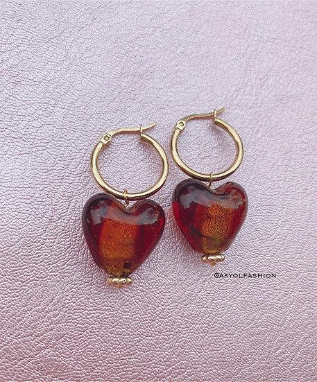 Brown Murano Glass Heart Gold Hoop Earrings