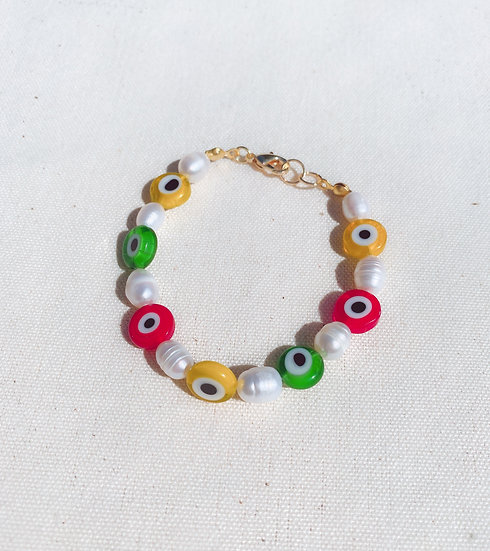 Colourful Evil Eye and Pearl Bracelet With Gold Tone Clasp