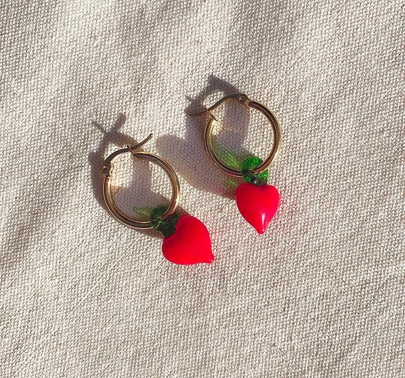 Red Heart Murano Glass Gold Hoop Earrings